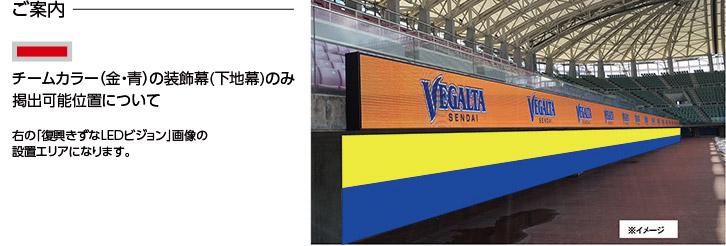 チームカラー(金・青)の装飾幕(下地幕)のみ掲出可能位置について 復興きずなLEDビジョンの下側になります